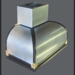 Convex zinc canopy with black trim and polished brass details.