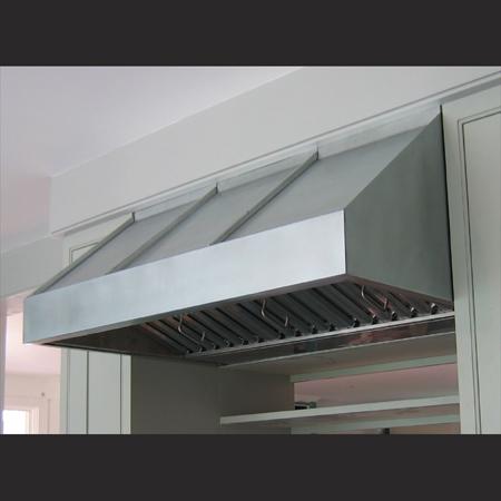 "Zinc Range Hood with 1/2"" standing seam detail"
