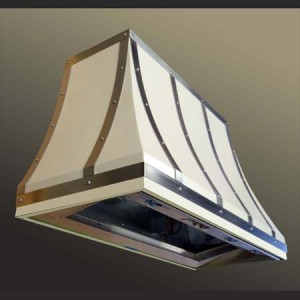 steel range hood finished with a durable powder coat and stainless steel strapping