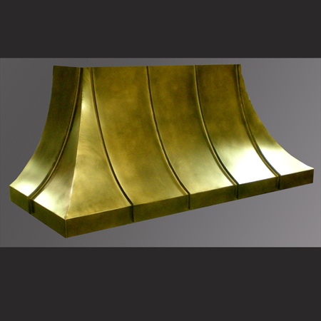 Copper Range Hood with standing seam panels and an antique finish
