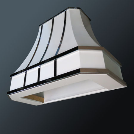 Painted Steel Range Hood with stainless steel mirror-polished details